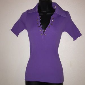 50's style Ribbed Sexy Button Top Pin Up Purple